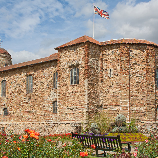 """""""Norman Castle in Colchester in spring"""" stock image"""