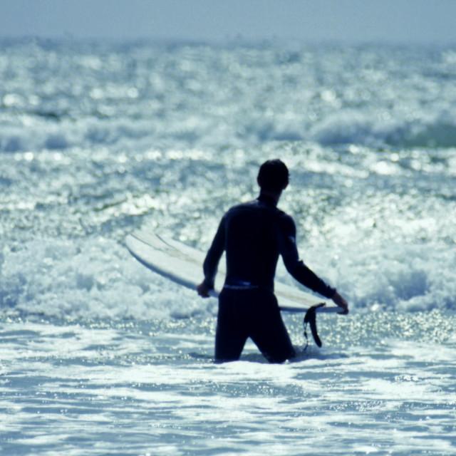 """Surfer, Rhosneigr,"" stock image"