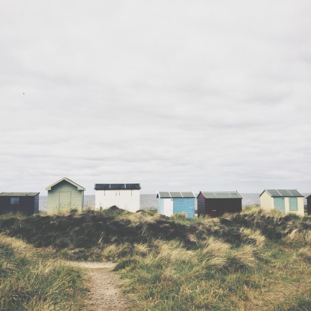 """Sheddies: Highland Beach Huts"" stock image"