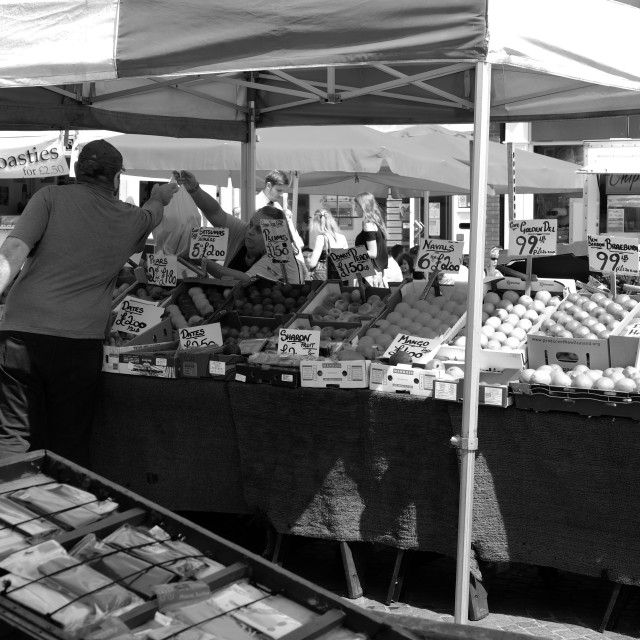 """""""Fruit And Vegetable Stall ."""" stock image"""