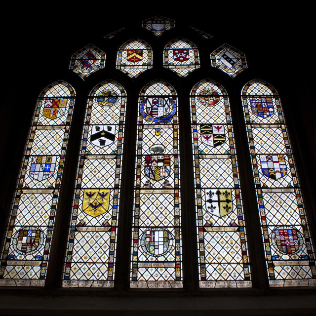 """Stained Glass Window, Bath Abbey, United Kingdom"" stock image"