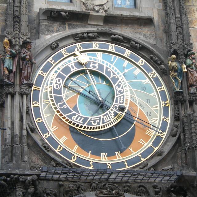 """Prague Astronomical Clock or Prague Orloj, Czech Republic"" stock image"
