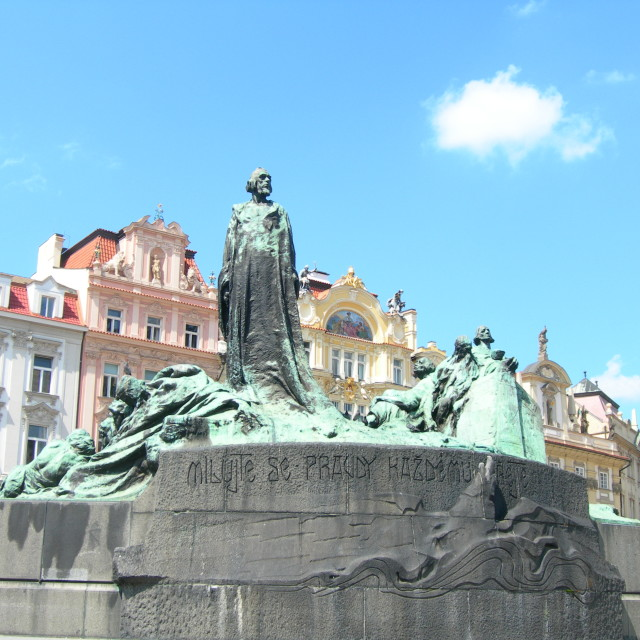 """Jan Hus Monument in Prague, Czech Republic"" stock image"