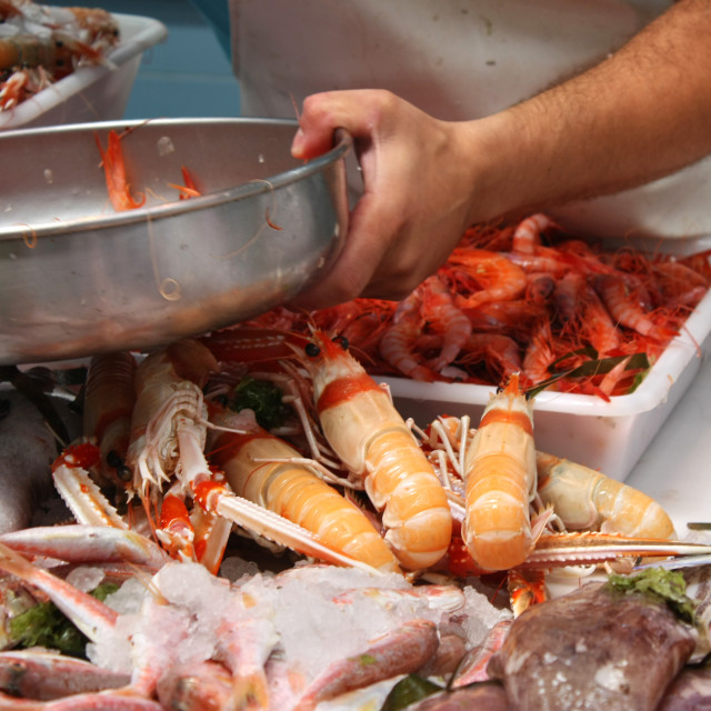 """""""Selling Seafood"""" stock image"""