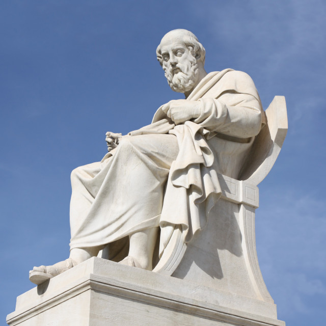 """""""Statue of philosopher Plato in Athens, Greece"""" stock image"""