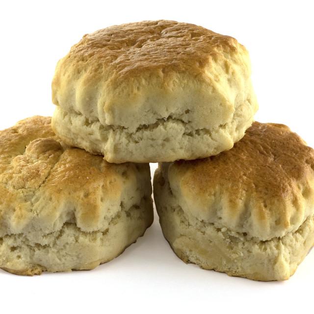 """Three Engllish plain scones"" stock image"