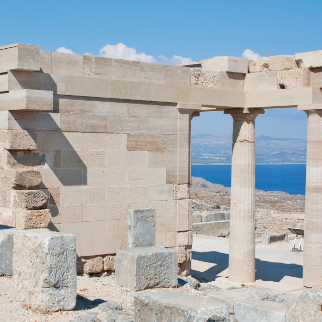 """""""Ruins of the Temple of Athena Lindia in Lindos, Rhodes, Greece"""" stock image"""