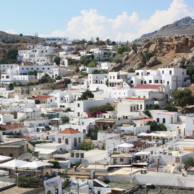 """Lindos Village in Rhodes, Greece"" stock image"