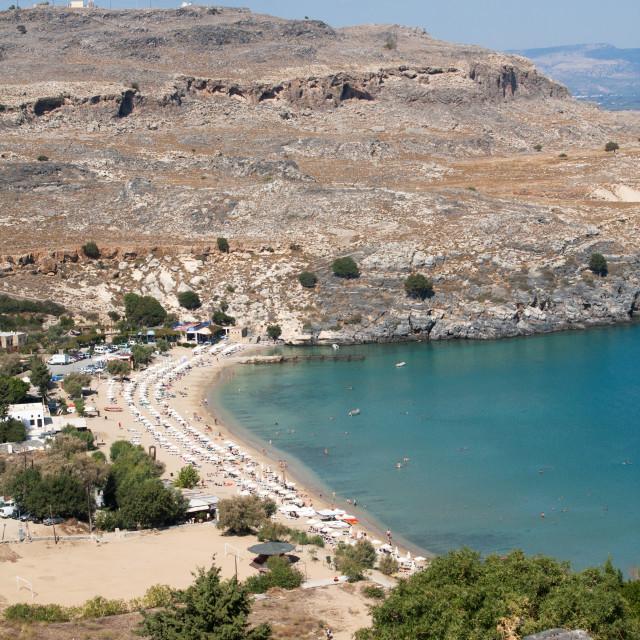 """""""Lindos Beach, Rhodes, Greece"""" stock image"""