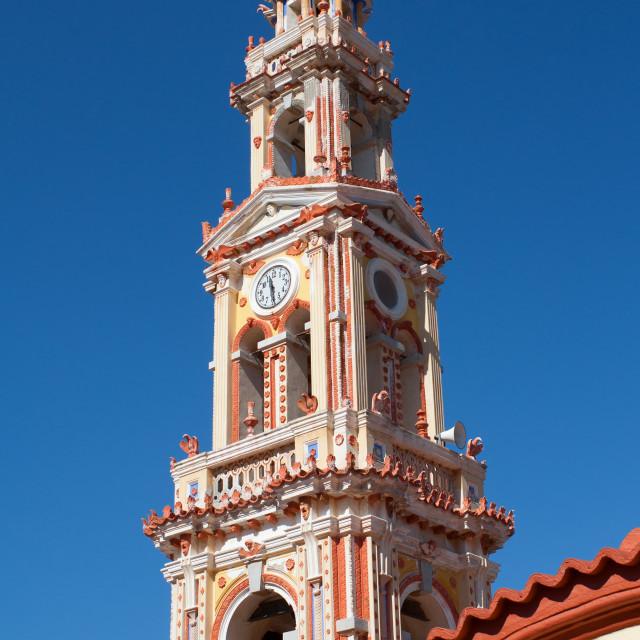 """Bell Tower of Panormitis Monasteri, Symi, Greece"" stock image"