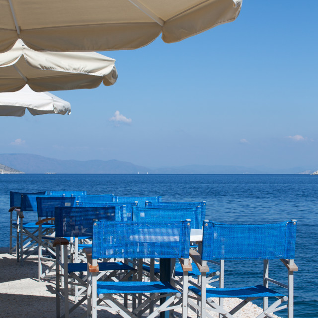 """""""Restaurant by the Sea in a Greek Island"""" stock image"""