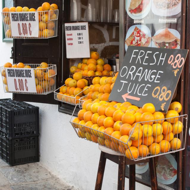 """""""Shop Selling Fresh Orange Juice"""" stock image"""