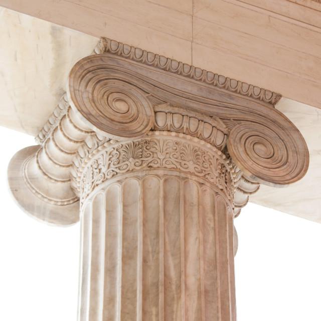 """Capital of Greek neoclassical ionic column"" stock image"