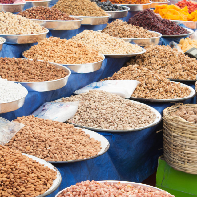 """Dried Fruit and Nuts in Market"" stock image"