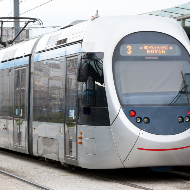"""""""Tram in Athens, Greece"""" stock image"""