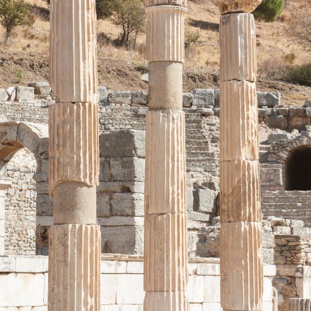 """Ancient columns in Ephesus, Turkey"" stock image"
