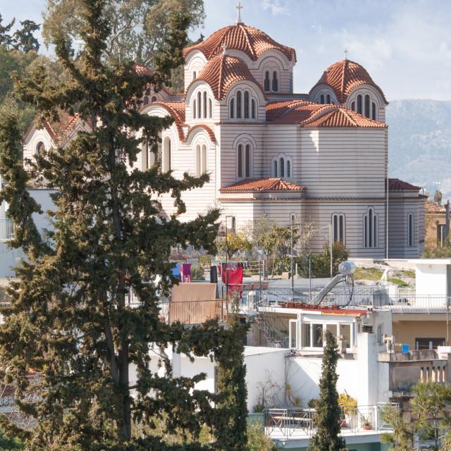 """Agia Marina Greek orthodox church"" stock image"