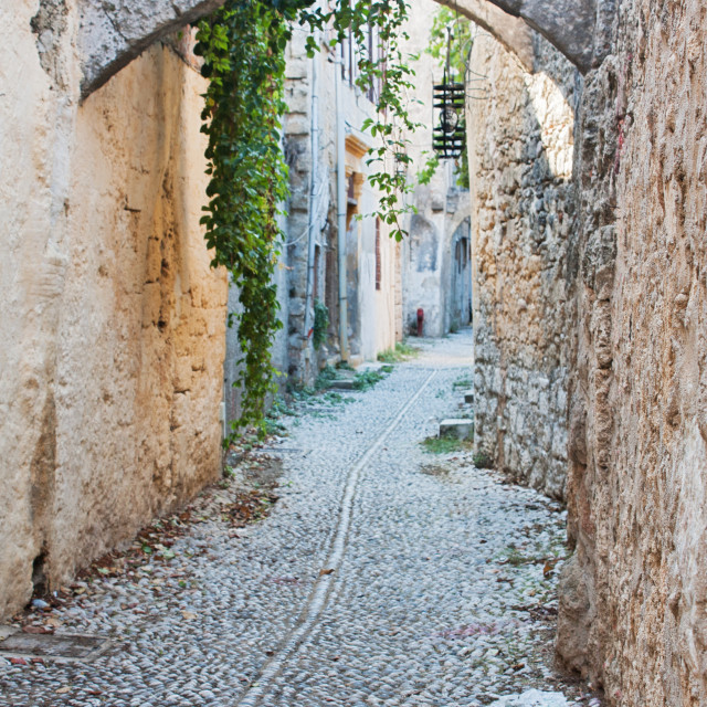 """""""Old Cobblestone Alley in Rhodes Old Town, Greece"""" stock image"""