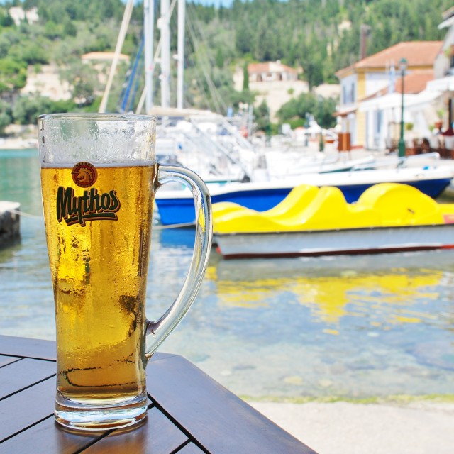 """Mythos beer, Paxos"" stock image"