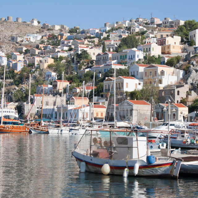 """Gialos, the harbour of Symi, Greece."" stock image"
