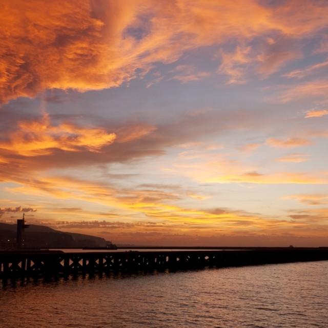 """Sunset in Almeria beach, Spain"" stock image"