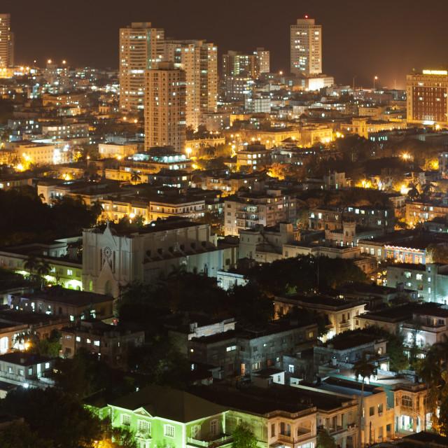"""Vedado Quarter at night, Cuba"" stock image"
