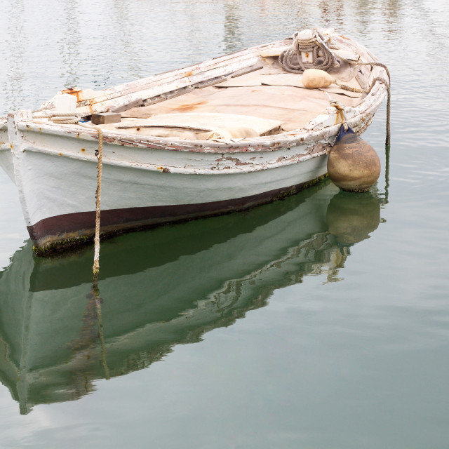 """""""Old wooden rowing boat"""" stock image"""