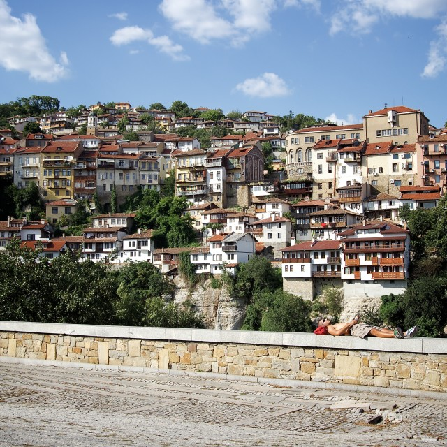 """Relaxing in the Sunshine at Veliko Tarnovo"" stock image"