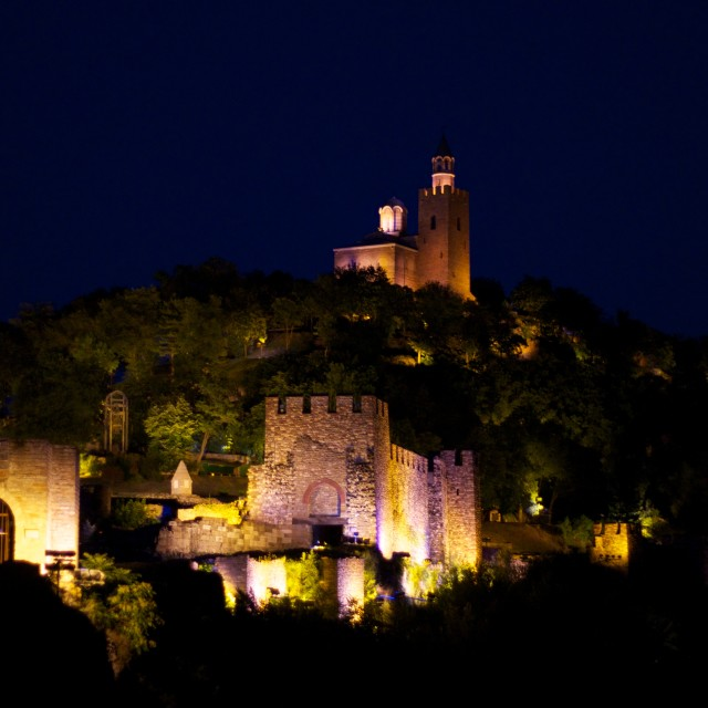 """Tsarevets Fortress at Night"" stock image"