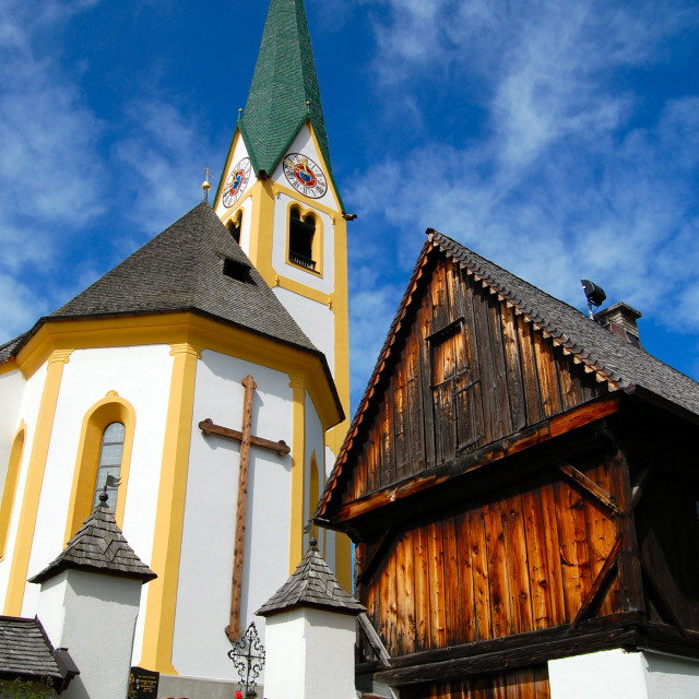 """Kitzbuhel Church, Austria"" stock image"
