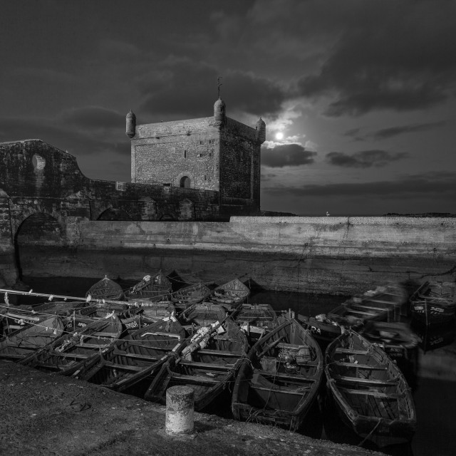 """""""Dawn moon over the harbour"""" stock image"""