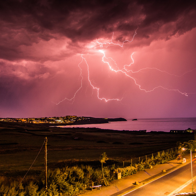 """Lightning Storm at Fistral Beach Newquay"" stock image"
