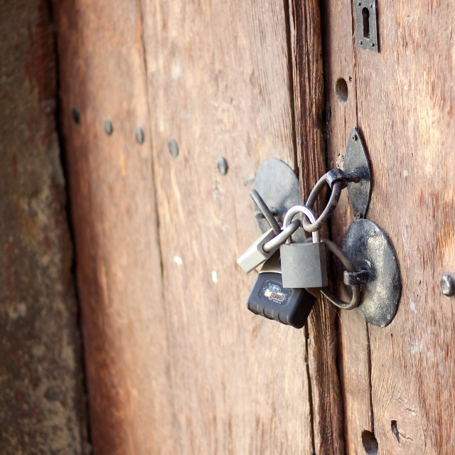 """Padlocked Door"" stock image"