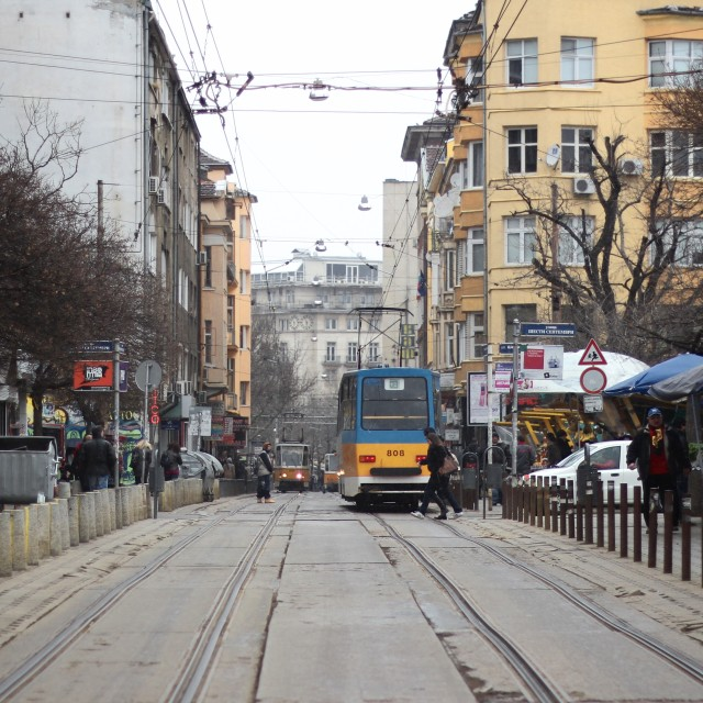 """Trams in Sofia"" stock image"