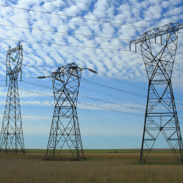 """Three Electrical Power Pylons"" stock image"