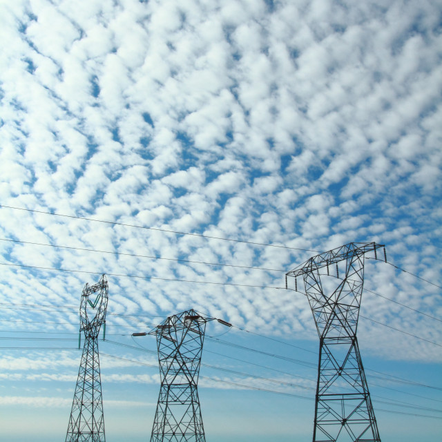 """""""Three Electrical Power Pylons"""" stock image"""