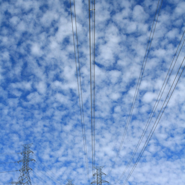"""""""Electrical Power Cables and Pylons"""" stock image"""