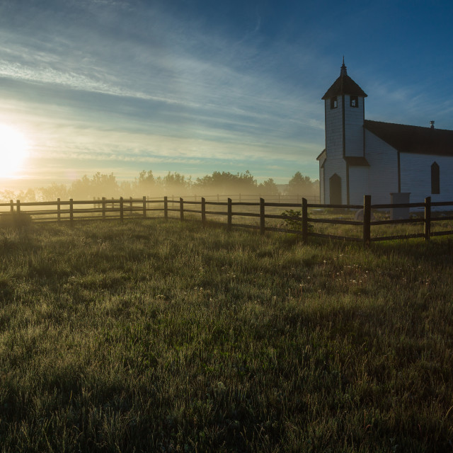 """Country Church at Sunrise"" stock image"