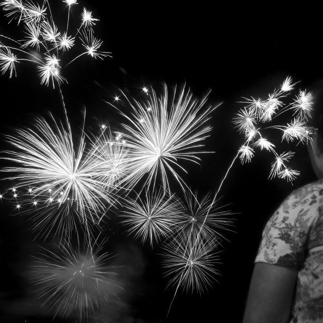 """Watching Fireworks"" stock image"