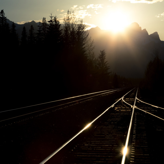"""Railway tracks in the evening"" stock image"