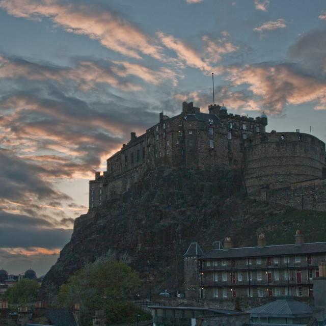 """Edinburgh castle at dusk HDR"" stock image"