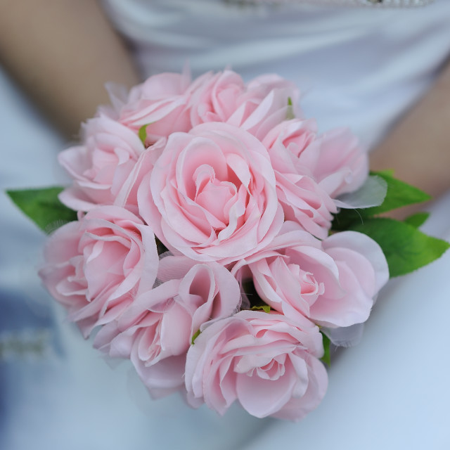 """Brides bouquet pink roses"" stock image"