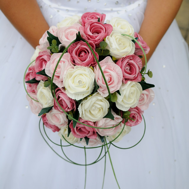 """Brides bouquet pink and white"" stock image"