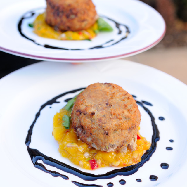 """Fishcakes haute cuisine"" stock image"