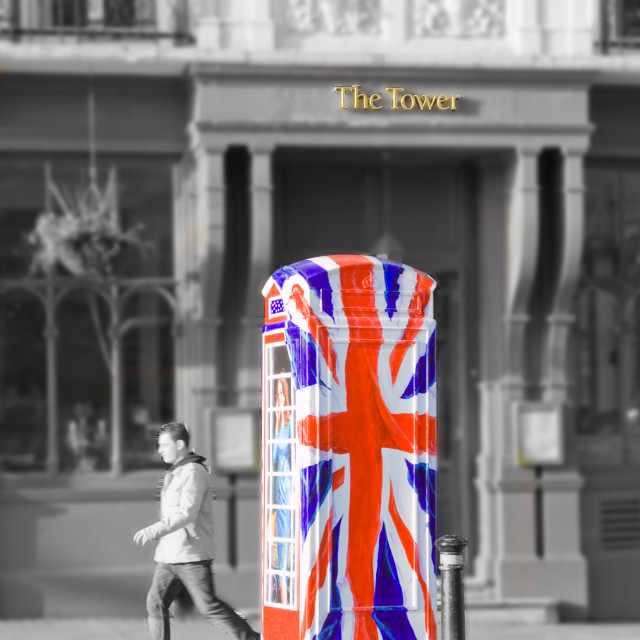 """union jack phone box"" stock image"