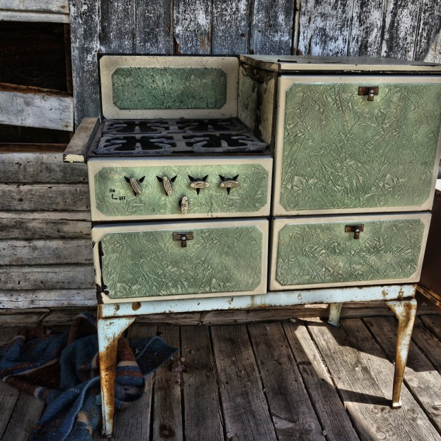"""Old Green Stove"" stock image"