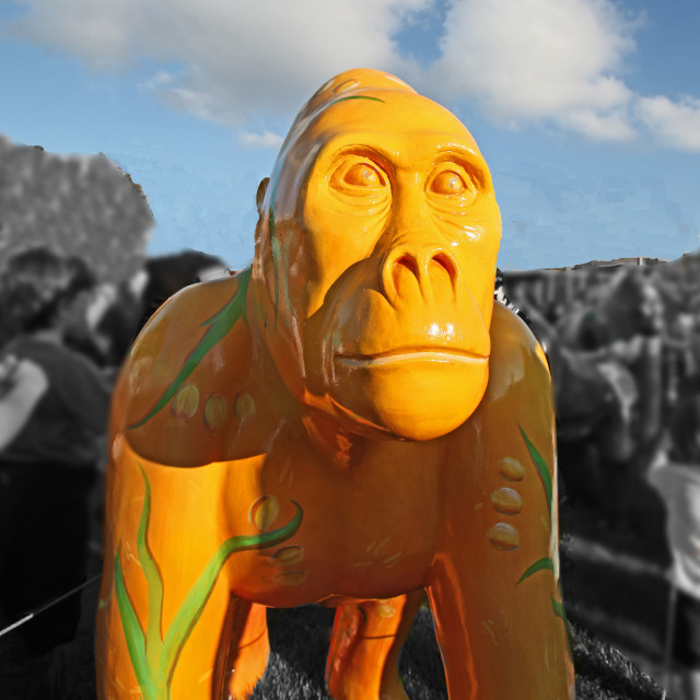 """yellow, bristol, gorilla, sculpture"" stock image"