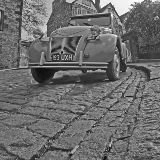 """citroen, 2cv, cobbled street"" stock image"