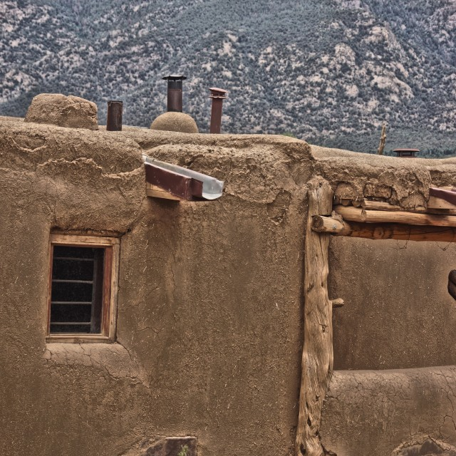"""Pueblo with Mountains"" stock image"