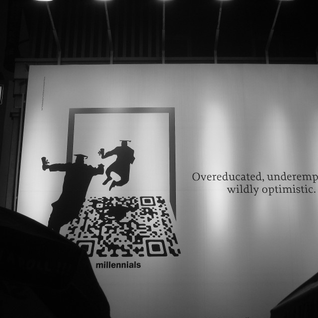 """""""Overeducated, Underemployed & Wildly Optimistic"""" stock image"""